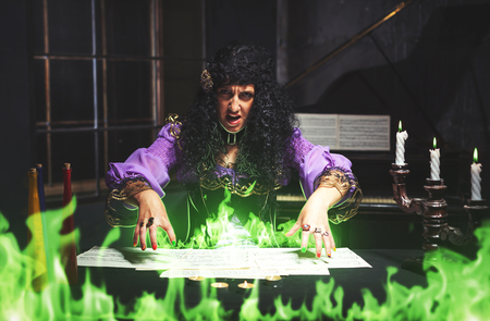 summoning: Sorceress practises witchcraft, she is summoning ghosts