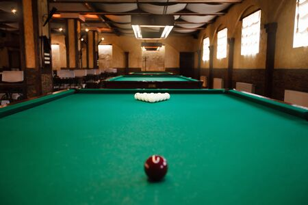 recreate: Billiard table with balls prepared for play