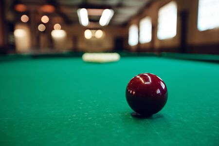 Billiard table with balls prepared for play