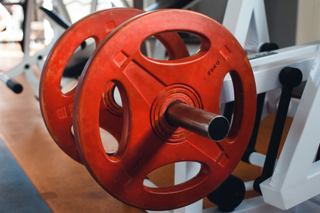 Close up of weight plates in the gym