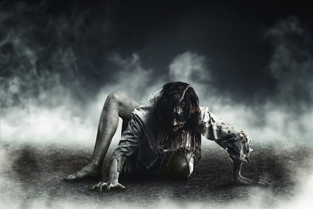 Horror witch zombie against the background of the soaring earth. Halloween.
