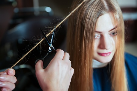 Professional hairdresser making hairstyle with scissors in hand to young female in hairdressing salon.