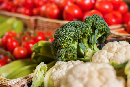 wattled: Wattled boxes with fresh broccoli and other vegetables. Ecological food. Healthy lifestyle.