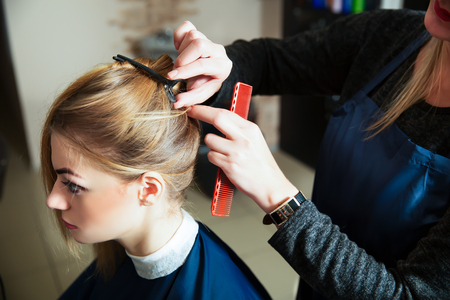 haircutting: Hairdresser prepares for work with young woman in hairdressing salon. Stock Photo