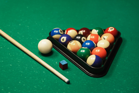 Billiard Balls In Triangle Near By Cue And Chalk On The Pool Stock - Pool table near by