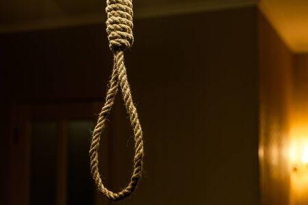 gallow: Suicide rope loop. Suicide noose concept Stock Photo