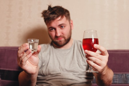 drunkenness: Alcohol addicted man after hard drinking.
