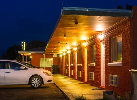 USA roadside motel in the night.