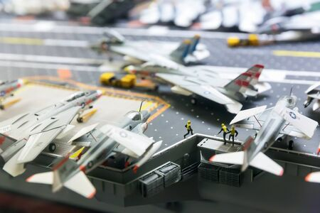 intrepid: Miniature model of aircraft carrier runway Stock Photo