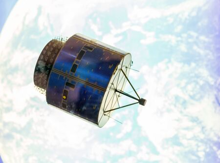 Satellite in space orbit Stock Photo