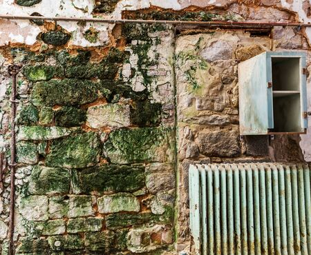 incarceration: Old prison brick wall