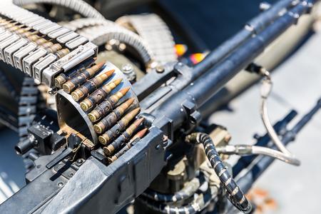 airscrew: Closeup of helicopter machine gun.