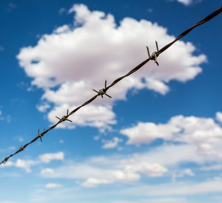 blue cloudy sky: Barbed wire againdt blue cloudy sky.