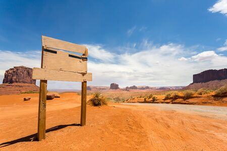 monument valley view: Empty sign on monument valley road Stock Photo