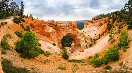 Panoramic view of natural bridge rock formation Stock Photo