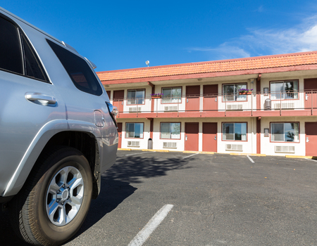 Typical american inexpensive motel. Stock Photo