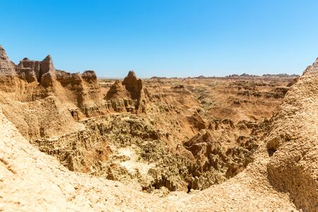 Scenic view of Rock formations in sunny day Stock Photo