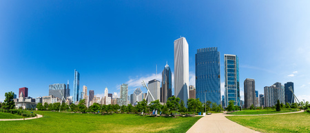 Green meadow on cityscape background of Chicago Standard-Bild