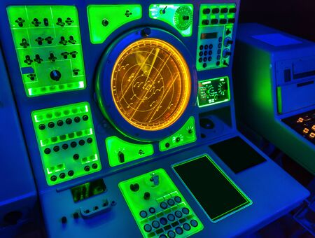 marine: Aircraft carrier navigation equipment. Stock Photo