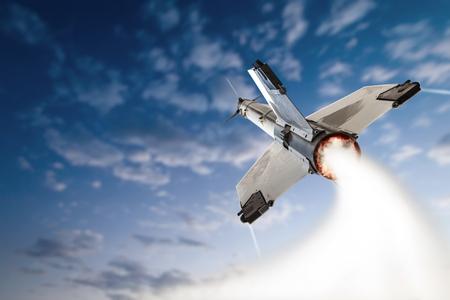 Flying-up militant missle. Banque d'images