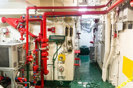 engine room: Pipe system on war ship,