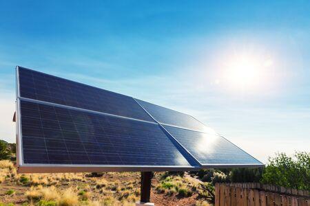 Blue solar panels. Stock Photo