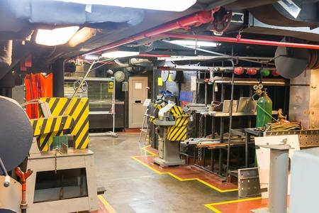 engine room: Military battleship workshop. Stock Photo