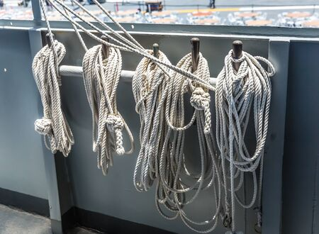 onboard: Rope loops onboard the aircraft carrier. Stock Photo