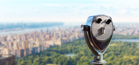 Observation deck with coin operated binocular