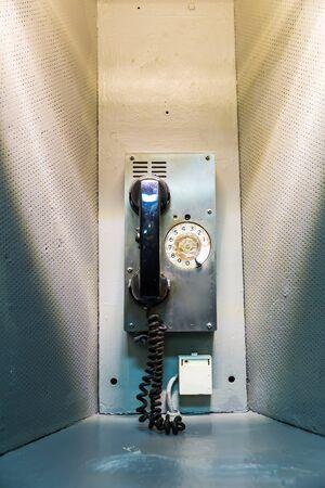 interphone: Military ship telephone communication. Stock Photo