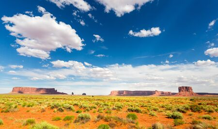 Scenic sandstones, cloudy sky at Monument Valley Stock Photo