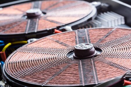 Copper electric coil macro detail