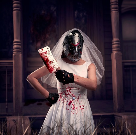 Bride maniac in hockey mask with meat cleaver
