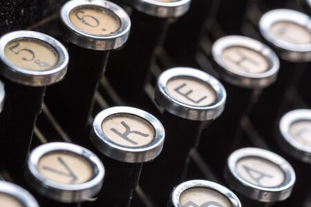 photo story: Vintage typewriter keys closeup image Stock Photo