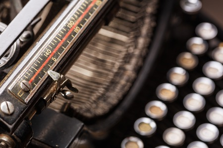 typewrite: Vintage typewriter line, type bars, keys closeup