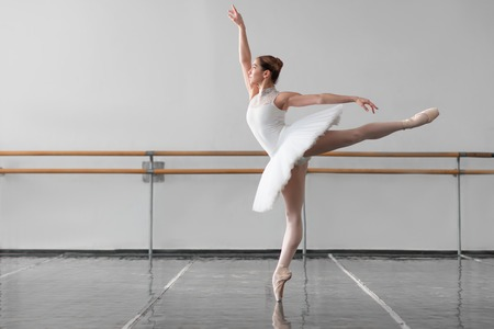 Beautiful female ballet dancer in class