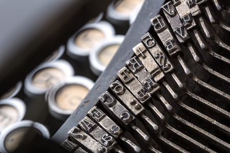 photo story: Vintage typewriter mechanism closeup image