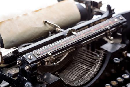 typewrite: Vintage typewriter ribbon mechanism closeup Stock Photo