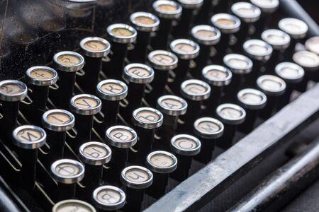typewrite: Vintage typewriter keys closeup image Stock Photo