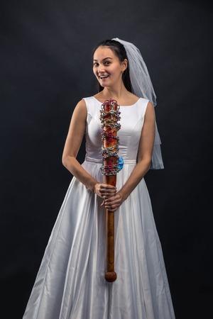 Serial murederer in wedding dress Stock Photo