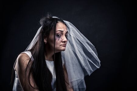 tearful: Bride with tearful face, unhappy marriage Stock Photo
