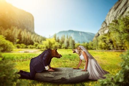 animal heads: Bride and groom with wild animal heads