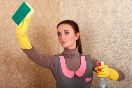 cleaning service: Cleaning servisce lady in rubber gloves