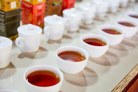 degustation: Ceylon tea degustation cups closeup view
