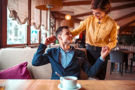romantic date: Romantic date of love couple in restaurant