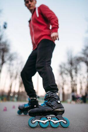 rollerskater: Male roller skater in skates, bottom view