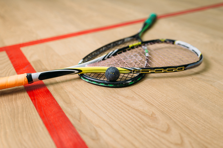 Squash game equipment closeup view Stockfoto