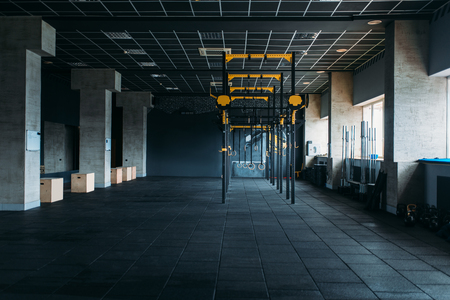 Gym nobody, gymnastic exercisers. Sport center Banque d'images