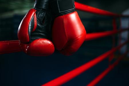 Luvas nas cordas do anel, conceito de boxe, ninguém Foto de archivo - 80525152