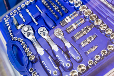 Professional toolbox, heads and ratchets closeup